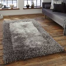 Grey Rugs Cheap Two Texture Silver Grey Bordered Shaggy Rugs