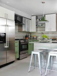 dazzling light green combine with white color on kitchen island