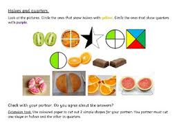 fractions halves and quarters differentiated worksheet for grade 1