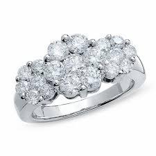 flower rings images 2 ct t w diamond three flower ring in 14k white gold gold jpg