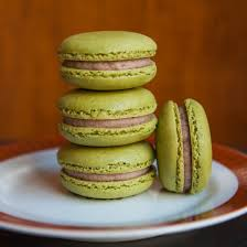 thirsty for tea green tea macarons with red bean buttercream