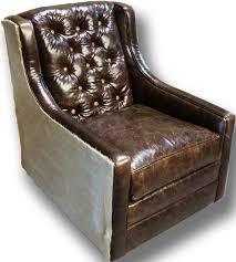 Brown Accent Chairs Snowmass Tufted Swivel Glider Western Accent Chairs Distressed