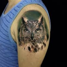 upper sleeve realistic owl tattoo design idea for men golfian com