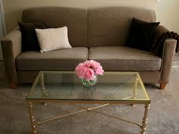 ugly metal coffee table makeover success gold spray paint