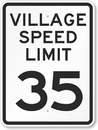 Speed Limit In Blind Intersection Village Speed Limit Signs