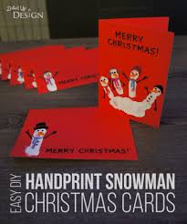 easy diy handprint snowman christmas cards