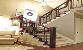 garland for stair banister front porch decorating ideas