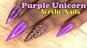purple unicorn acrylic nails naio nails gel polish