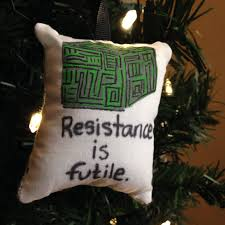 trek borg cube resistance is futile painted pillow