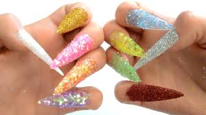 learn colors surprise nail arts glitter nail tip 10 colours teach