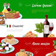 cuisine traditionnelle italienne bannières horizontales alimentaires italienne définies cuisine et