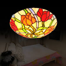 Yellow Glass Ceiling Light Beautiful Flush Mount Tiffany Ceiling Lights Stained Glass