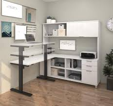 Sit Stand Office Desk Modern Sit Stand Desk With Credenza Hutch In White Officedesk