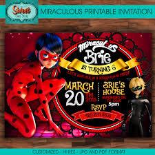 Ladybug Home Decor Miraculous Personalized Digital Invitation Miraculous Ladybug