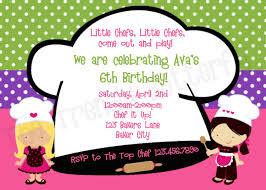 Birthday Cards Invitations Printable Birthday Invitations Cooking Birthday Party
