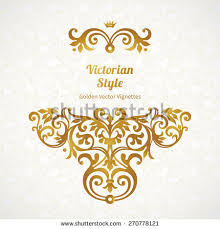 Victorian Design Style Vector Golden Border Design Template Element Stock Vector