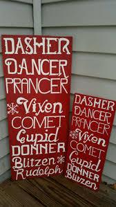 reindeer names including rudolph christmas sign christmas decor