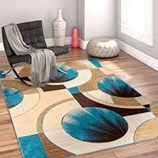 Blue Brown Area Rugs Sunburst Blue Beige Brown Modern 6x9 7x9 6 7 X 9