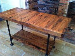 Wood Kitchen Island Table Kitchen Island Industrial Butcher Block Style Reclaimed Wood And