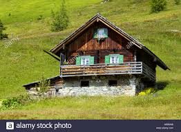 alpine hut old farm house built in traditional style austria np