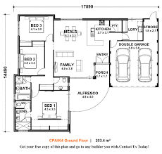 floor plan single level home plans small open one storey house