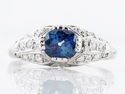 sold antique engagement ring art deco 1 08 cushion cut sapphire