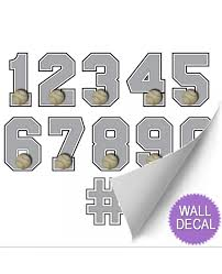 baseball jersey number stickers varsity numbers wall decor baseball wall decals for boys room
