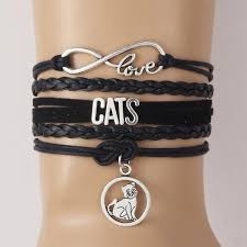 infinity charm leather bracelet images Infinity animal love cat charm leather bracelet discount deals jpg