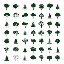 set of grey trees vector symbol and icon stock vector