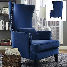 upholstered wingback chair velvet blue armchair accent wing high