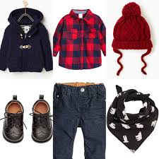 baby boy day off outfit idea red checkered shirt dark blue