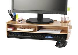 Tv Computer Desk Azlife Wooden Monitor Stand Riser Laptop Stand And