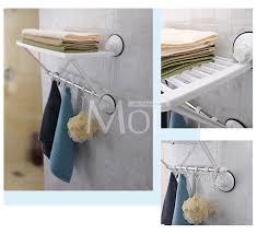 Suction Cup Bathroom Shelf Single Layer Towel Racks With Hooks Plastic Towel Holder Wall