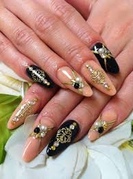 acrylic nail designs with rhinestones black and beige acrylic