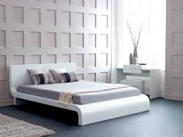 white bedroom grey bed cover grey floor tiles white