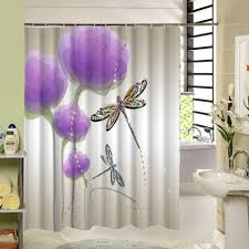 Purple Bathroom Curtains Watercolor Floral Shower Curtain Polyester Purple Flowers