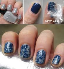get marble nails by using plastic wrap birchbox glittershewrt