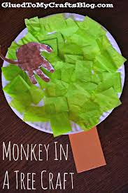 Paper Plate Monkey Craft - paper plate monkey in a tree kid craft glued to my crafts