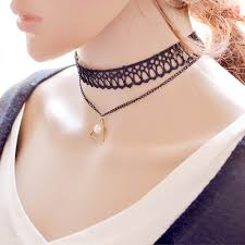 necklace double layer images Wholesale pearl bead triangle pendant double layer choker necklace jpg