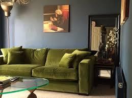 stourhead sofa in olive green velvet contemporary living room