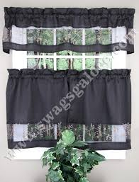 Black White Gray Curtains Fairfield Kitchen Curtains Valance Tier Pairs Black By