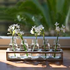 glass milk bottle vase wooden tray of five mini bottles trays glass bottle and display