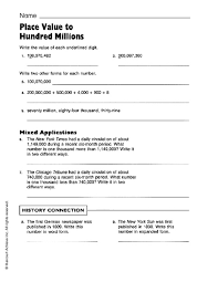 free worksheets place value worksheets hundred millions free