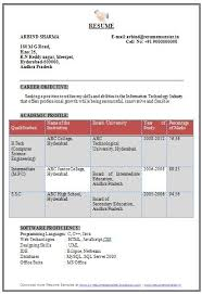 Best Resume For Freshers by Resume Format For Computer Science Engineering Students Best