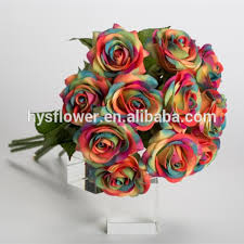 White Roses For Sale Real Touch Single Rainbow Rose For Wedding Decoration Flower