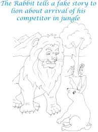 rabbit telling a story to lion coloring page for kids
