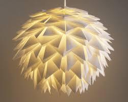 Paper Pendant Light White Spiky Pendant Light Overlapping Folds Origami Paper