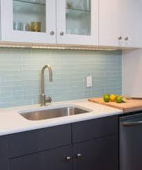 blue glass tile kitchen backsplash backsplash 1 by 6 inch brick glass tiles in blue
