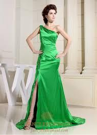 lime green one shoulder prom dress green floor length evening