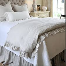 2016 french ruffled washed linen duvet cover king size flax